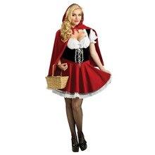 Donne di età Costume di Halloween Little Red Riding Con Cappuccio Fantasy Uniformi del Gioco del Vestito Operato Del Partito Mantello Vestito Per Le Ragazze S 6XL