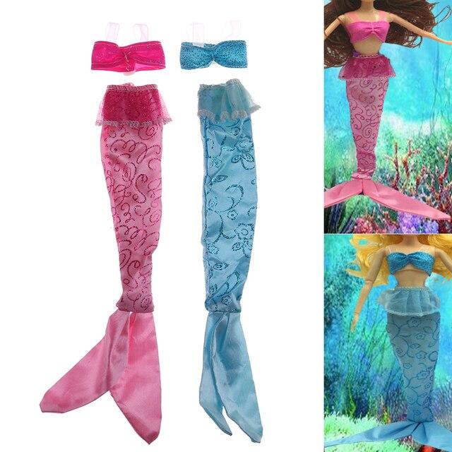 1set Diy Fashion Mermaid Tail Dress Dolls Party Dress Gown Skirt