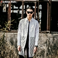 De Los Hombres de moda Camisa de Encaje Sexy Slim Fit Diseñador de la Marca de Manga Larga Ver A Través de Camisas de Verano Negro Blanco