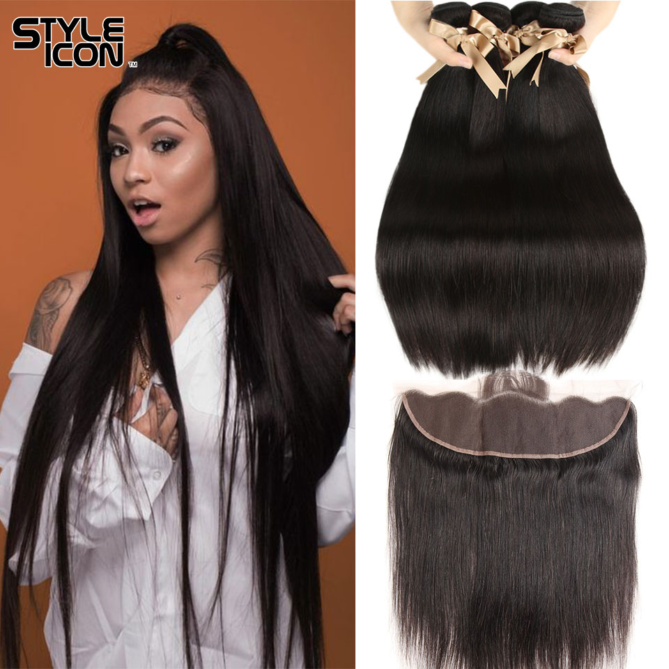 Raw Indian Hair Bundles With Closure 2 3 4 Hair Bundles With Frontal Styleicon Human Hair Indian Straight Bundles With Closure