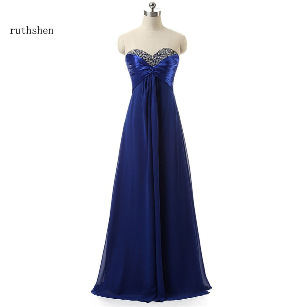 ruthshen Long Royal Blue / Purple Chiffon Bridesmaid Dresses Cheap Sequin Beaded Pleats Draped wedding guest party dress