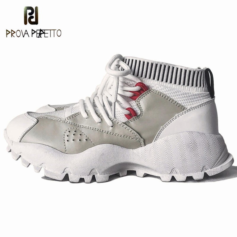 Prova Perfetto Fashion New Women Vulcanized Shoes Woman Walking Shoes Comfortable Breathable Sneakers Women Lace-up Casual Shoes prova perfetto bling bling diamond women casual shoes lace up rhinestone sequine sneakers shoes thick bottom fashion girl shoes