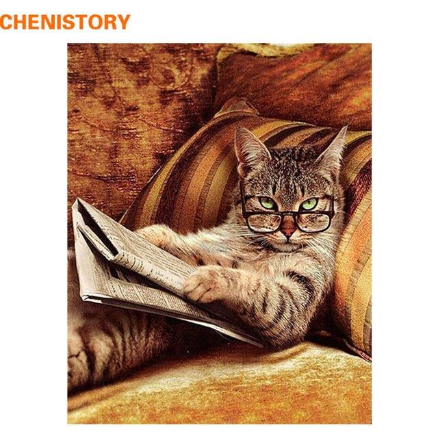 CHENISTORY ללא מסגרת משקפיים חתול DIY ציור מופשט מודרני קיר אמנות יד מצוירת שמן ציור לעיצוב בית 40x50