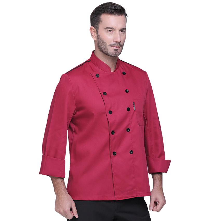 Full Sleeve Autumn Men Chef Shirt Food Service Double-breasted Tops High Quality Restaurant Kitchen Bakery Costumes Women Shirt