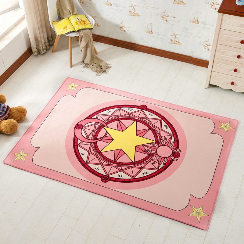 Anime Cardcaptor Sakura Kinomoto Sakura Round Style Decoration Fluffy Rugs Anti-Skid Shaggy Area Home Bedroom Carpet Floor Mat