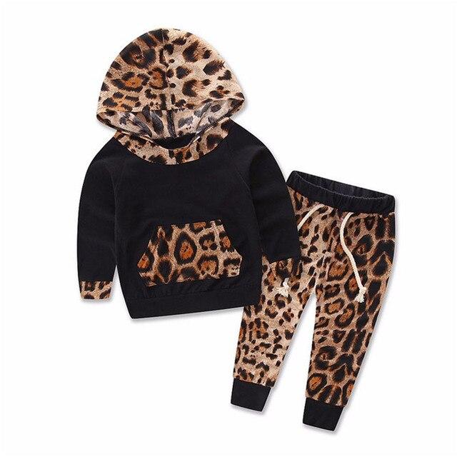 fe12d8821 2PCS Baby Leopard Clothes Set Tops + Pants Kids Boys Girls Print Tracksuit  Newborn Infant Hooded T-shirt Trousers Romper suits