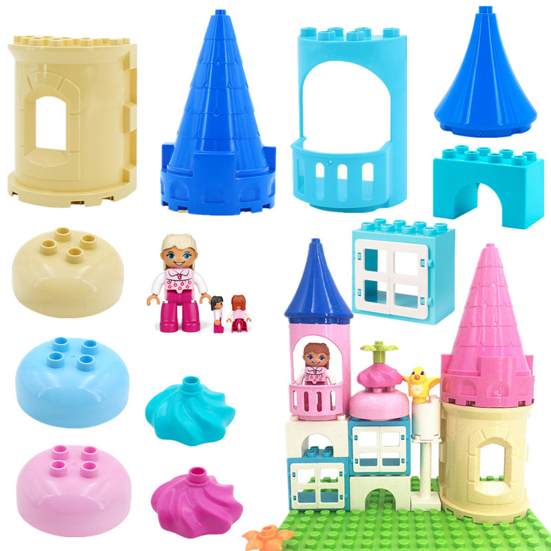 Accessories Girls Princess Castle Building Blocks Bricks Compatible With L Brand Duploed Parts Toys For Children Christmas