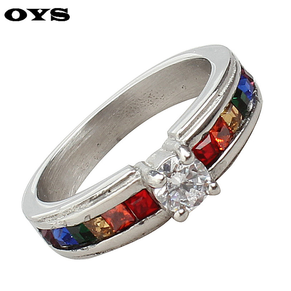 Hot Sale Woman Rainbow Crystal Rings with White Cubic Zirconia Stainless Steel for Women Gay Wedding Band Bijoux