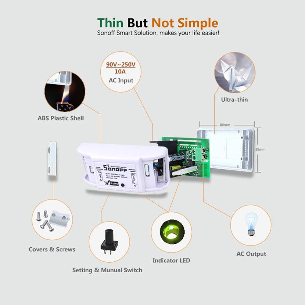 10 個 Sonoff スマートホームオートメーションのための基本的なワイヤレス無線 Lan スイッチリレーモジュール 10A 90 250 V Ios android のリモートコントローラー  グループ上の 家電製品 からの ホームオートメーションモジュール の中 3