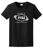 80th Birthday Gift Made 1936 80 Years Awesome Ladies T Shirt Short Sleeve Round Collar Cotton