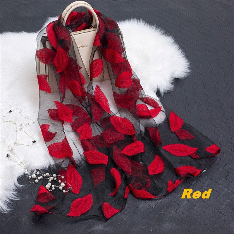 Apparel Accessories Tireless Chun Brand New Hot Bandana Silk Scarf Women Luxury Hijab Embroidery Long Scarf Black Lace Yarn Scarves Fashion Shawl Wj04