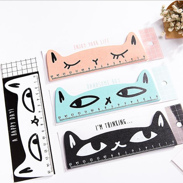1 Piece 15cm Kawaii Animal Cat Wooden Students Straight Ruler Maths Geometry School Stationery Supplies Kids Gift Set
