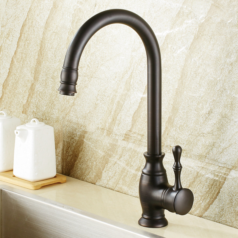 The kitchen sink dark bronze faucets Brass European executives cold and hot mixer black antique color dish kitchen sink faucetThe kitchen sink dark bronze faucets Brass European executives cold and hot mixer black antique color dish kitchen sink faucet