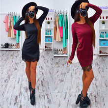 2016 Autumn Lace Patchwork Women's Dress Fashion O-neck Long Sleeve Black Red Elegant Dresses Casual Bodycon vestidos Plus size