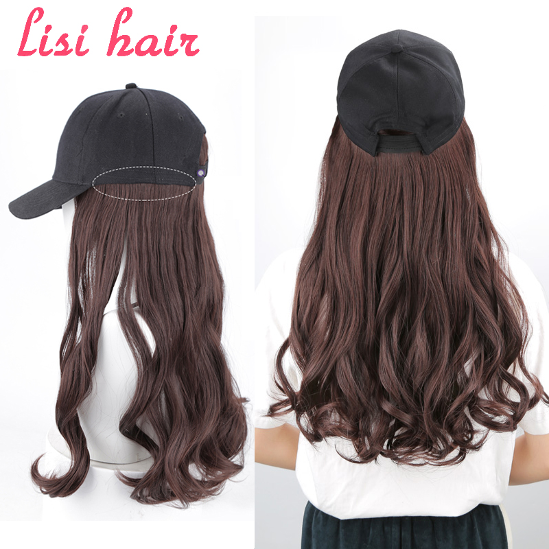 New Long Straight / Wavy Hat Wig Black Brown Multicolor With Wig And Hat Natural Connection Synthetic Hair Female Full Headdress