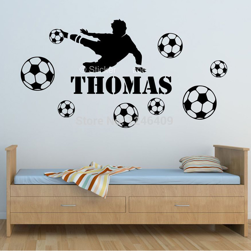 Personalised FOOTBALL name wall art sticker BOYS  vinyl design DECAL DECOR kids