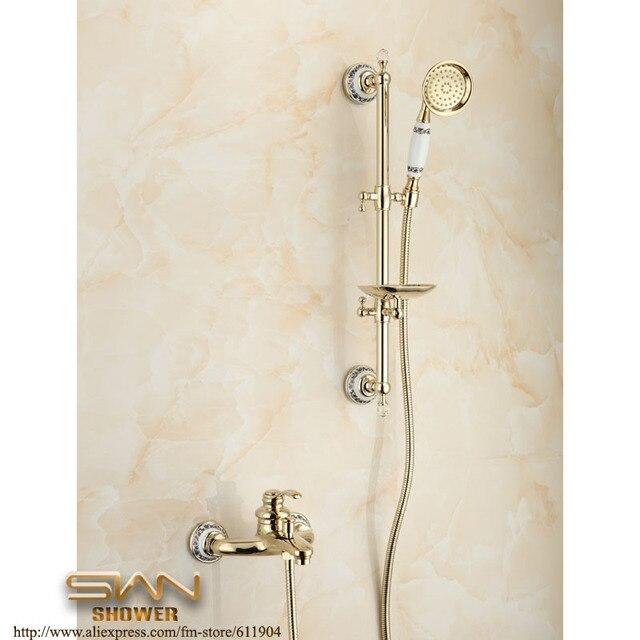 Color oro di lusso esposto montaggio a parete bagno vasca da bagno ...