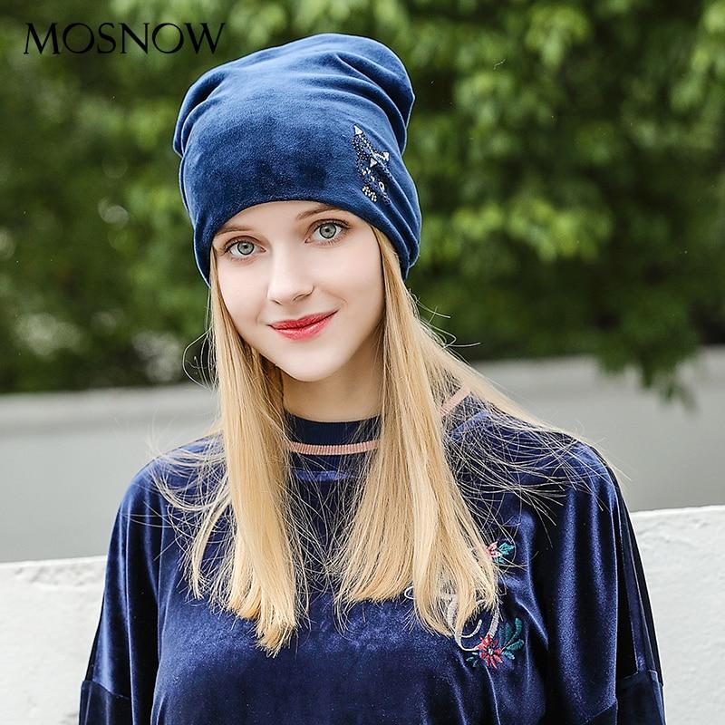 MOSNOW Women's Cap Rhinestones Owl 2018 Flannel Fashion High Quality Brand New Elegant Hat Female Velvet Skullies Beanies #MZ821