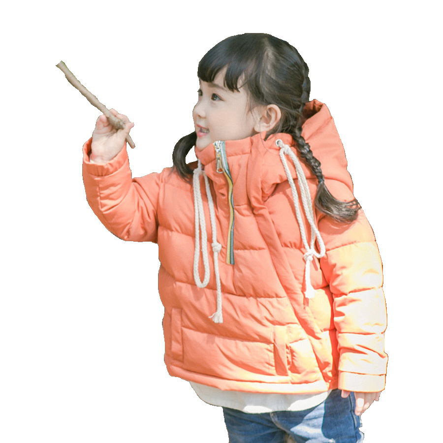 Girls Coat Beautiful Orange Hooded Jacket Children 2017 Fashion Autumn Kids Coat Pretty Winter White Duck Down Jacket For Girls 2017 new british children s jacket girl autumn children beautiful cowboy trench coat autumn
