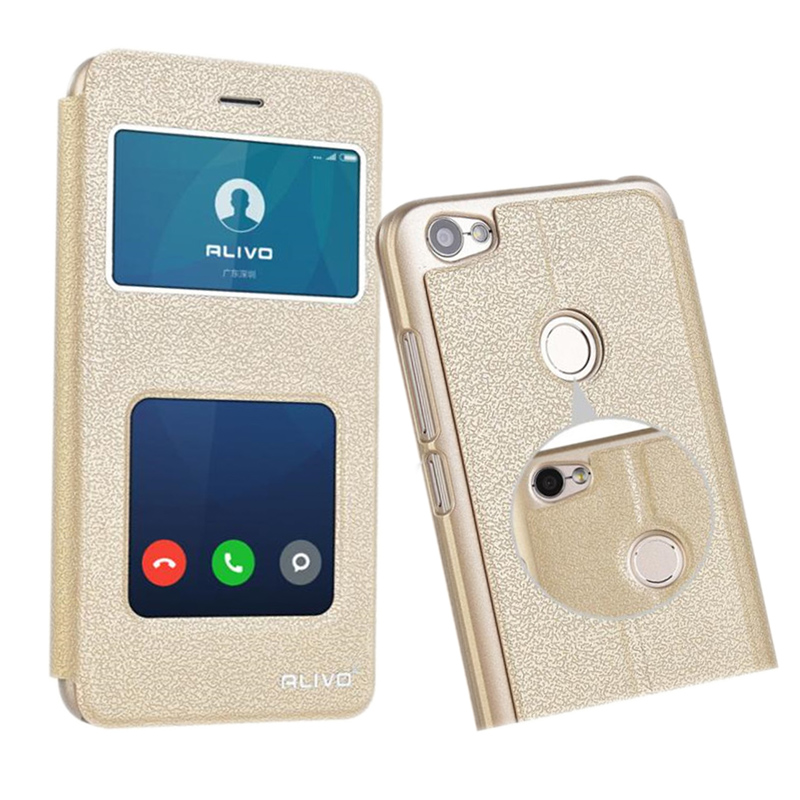 For MI Xiaomi Redmi NOTE 5A SmartPhone Cases Original ALIVO With Window View Protector Flip PU Leather Phone Bag Case Cover