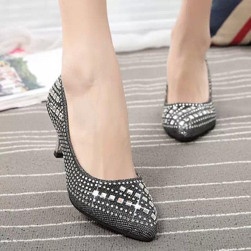 Popular Silver Rhinestone Heels-Buy Cheap Silver Rhinestone Heels Lots From China -2754