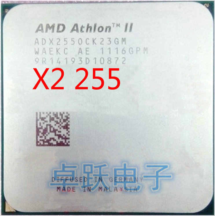 AMD Athlon II X2 255 CPU 3.1GHz, 2MB L2 Cache Socket AM3 PGA938, Desktop CPU scattered pieces processor free shipping