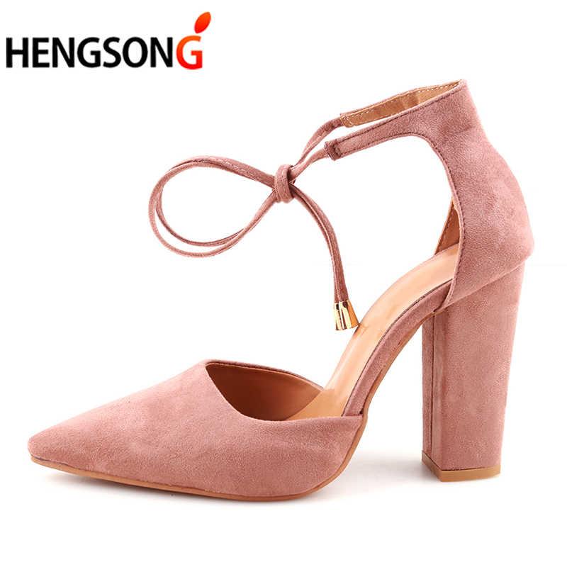 HENGSONG 2018 Sexy Retro Giày Cao Gót nữ Bít Mùa Hè Giày Nữ Thiết Kế Quai Bơm Mỏng Không Gót Người Phụ Nữ Phối Ren 911519