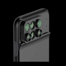 Double objectif de caméra 6 en 1, Fisheye, objectif Macro grand Angle, pour iPhone XS XR XS Max, Zoom télescopique, étui