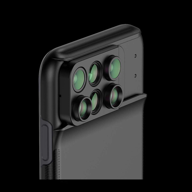 New For iPhone XS Max Dual Camera Lens 6 in 1 Fisheye Wide Angle Macro Lens For iPhone XS XR Xs Max Telescope Zoom Lenses + Case