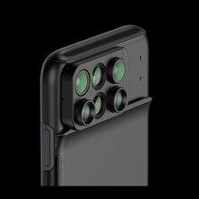 Novo para o iphone xs max lente da câmera dupla 6 em 1 olho de peixe grande angular macro lente para o iphone xs xr xs max telescópio zoom lentes + caso