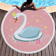 купить Cute Swan Print Round Large Beach Towel Microfiber Tassel Mandala Blanket Swimming Picnic Yoga Mat Bath Towel Home Decor 150cm по цене 937.89 рублей