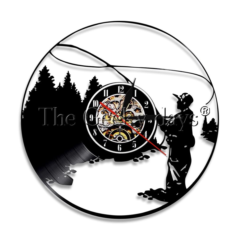 1 ピース囲碁釣りビニールレコードのウォールクロック釣り男ヴィンテージクリエイティブウォールクロック釣りフック時計漁師ギフト