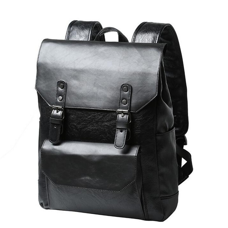 High Quality England Vintage Style PU Leather Men Backpacks For College Preppy Style School Backpacks Travel Black Backpacks high quality england vintage style genuine leather men backpacks for college school backpacks for 14 inch laptop bags 9024