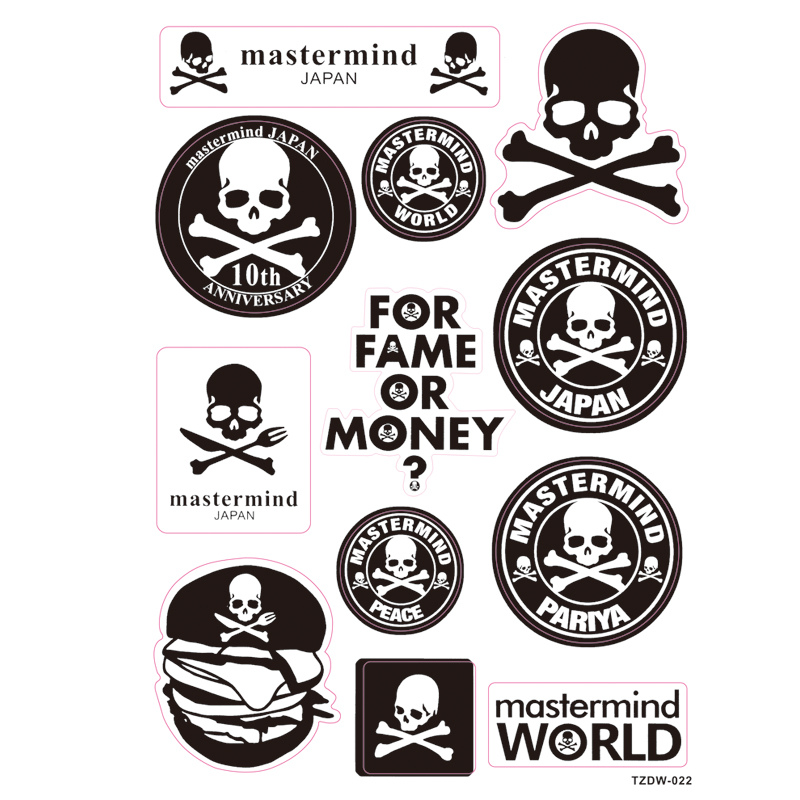 11pcs/lot Japan trend mastermind black DIY Stickers skull Waterproof Skateboard refriger ...