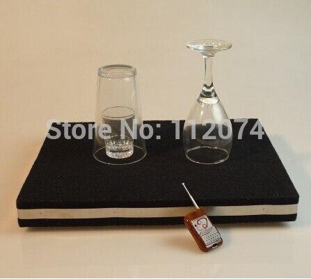 Plateau de rupture de verre à télécommande deux en un Pro + Coin en tapis de verre avec des tours de magie de couverture organique, mentalisme, scène, Illusion