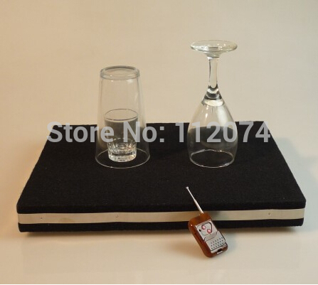 Two In One Remote Control Glass Breaking Tray Pro + Coin Into Glass Mat with organic cover Magic Tricks,Mentalism,Stage,Illusion