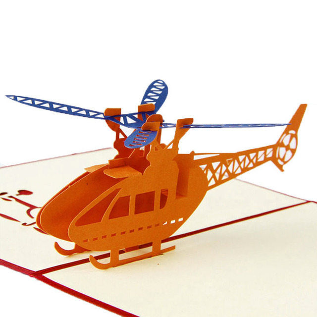 3d Pop Up Origami Paper Laser Cut Helicopter Greeting Cards Creative