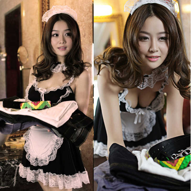 women sexy lingerie Halloween Costume French Apron Maid Servant Lolita Costume Dress Cosplay maid Fancy Dress Uniform underwear