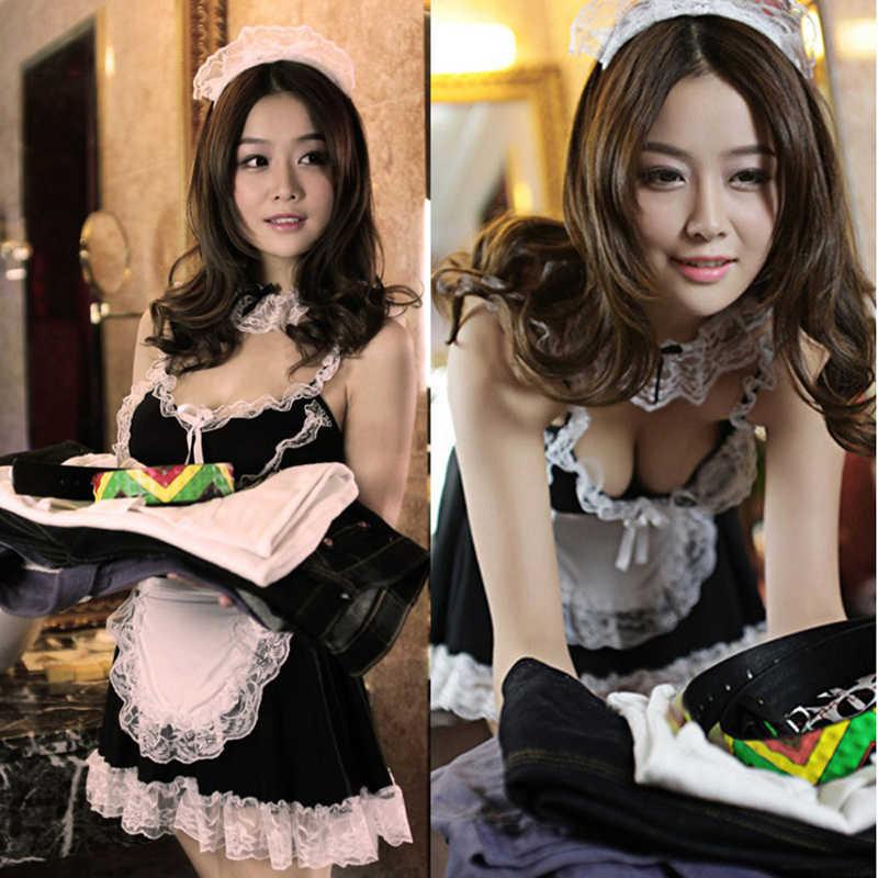 ผู้หญิงชุดชั้นในเซ็กซี่ฮาโลวีนเครื่องแต่งกายภาษาฝรั่งเศสคำผ้ากันเปื้อนแม่บ้านแม่บ้านแม่บ้าน Servant Lolita ชุดเครื่องแต่งกายคอสเพลย์แม่บ้านชุดแฟนซีชุดชั้นใน