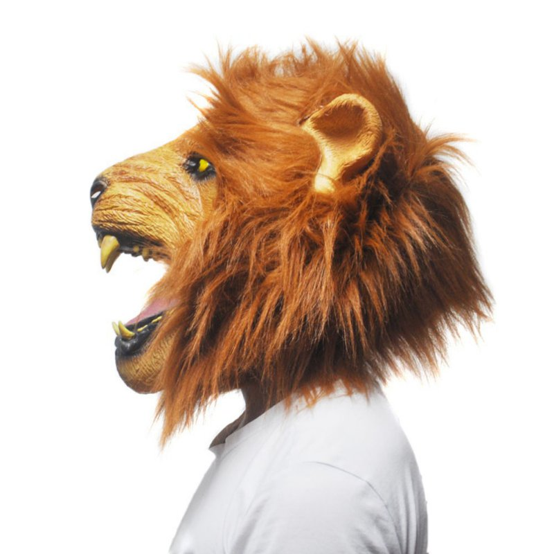 Halloween Props Adult Angry Lion Head Masks Animal Masquerade Rubber Silicone Face Mask Fancy Accessories hxfA810