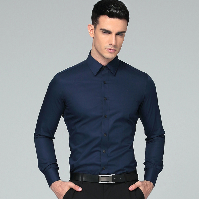 2018 New Men Dress Shirts Fransk Manchetknappe Høj kvalitet Bomuld Blend Langermet Solid Color Mens Regular Fit Business Shirt