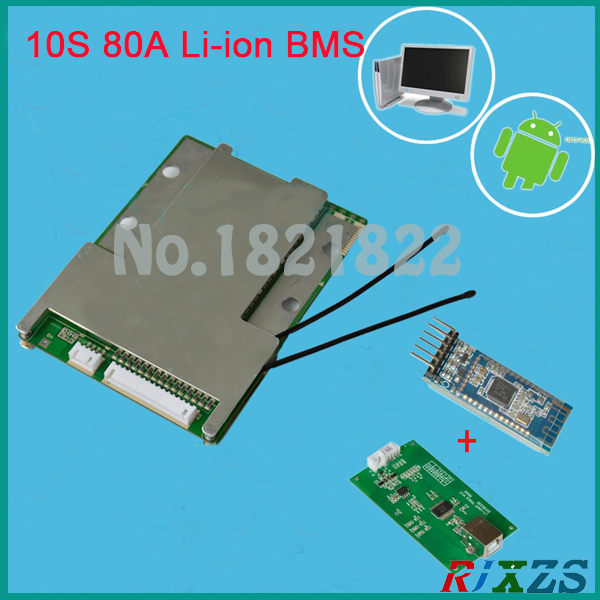 US $63 06 |10S 80A/100A bms 2017 new Li ion smart bms pcm with android  Bluetooth app UART correspondence bms wi software (APP) monitor-in  Integrated