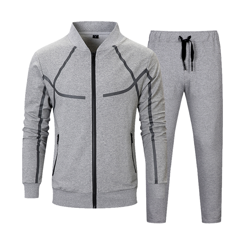 Men Set Casual Autumn Fashion Jacket+Pant 2 Piece Suit Male Clothing Tracksuit Outwear Hoodies Zipper Men's Sportswear Sets 2019