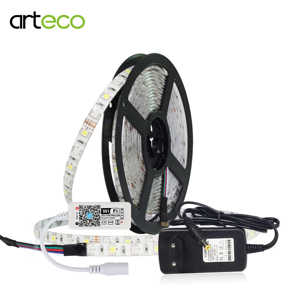 5M 60LEDs/m DC12V RGBW RGBWW LED Strip Mini Wifi Controller + Adapter IP20/ IP65 Waterproof Diode Tape Light Support Music Alexa цены