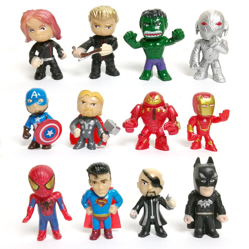 12pcs/set New Avengers toys mini the Avengers Action Figures Batman Hulk Thor action Toys Superhero model toys gift for boys все цены