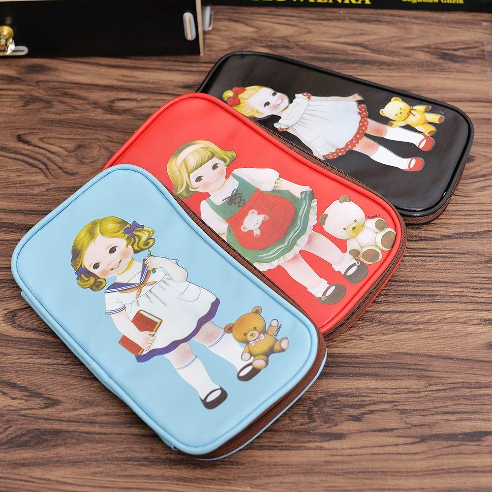 1Pcs Stationery Creative Cartoon Girl Cute Zipper Pen Bag Cartoon Doll Makeup Pencil Case Cosmetic Bag School Supplies
