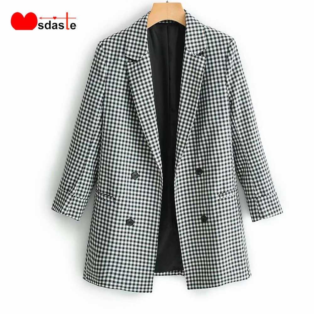 Клетчатые блейзеры для женщин 2019 осеннее двубортное Женское пальто с отложным воротником Chaqueta Mujer Jaqueta повседневные женские пальто и куртки