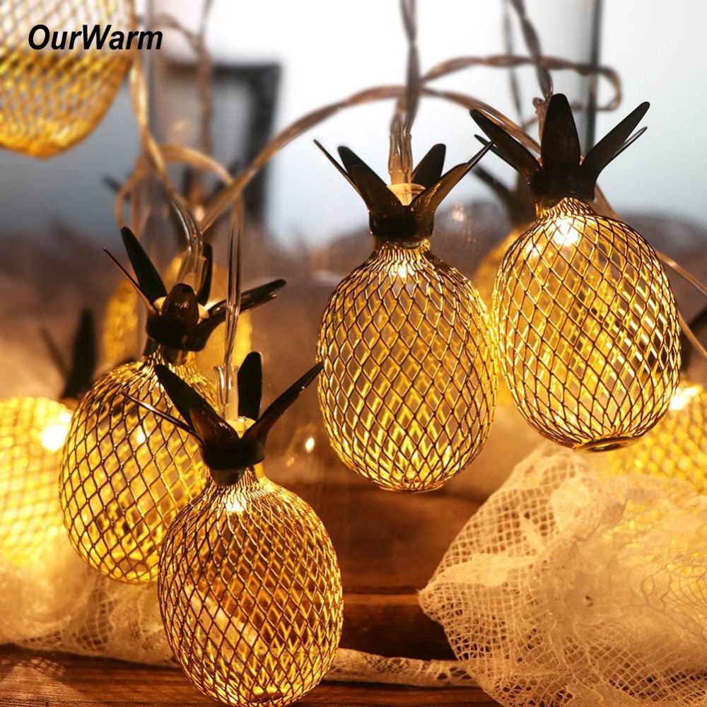 OurWarm Metal 1.6M LED String Lights for Hawaiian Party Decoration Drop 10pcs Pineapple String Lights for Birthday Wedding Party