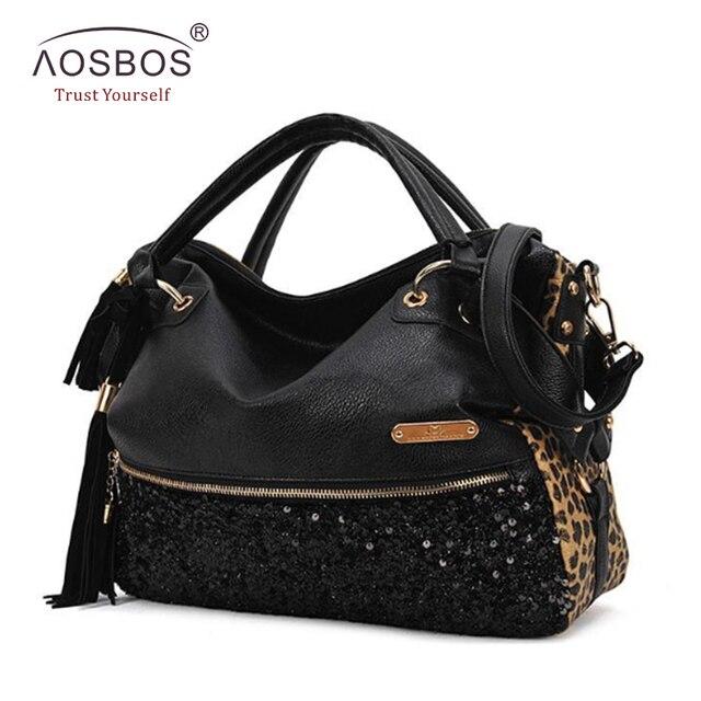 Aosbos mulheres leopard bolsas de couro pu sacos de ombro estilo europeu e americano lantejoulas tassel crossbody saco bolsa feminina