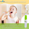 Battery Operated Waterproof DuPont Bristles Children Sonic Electric Toothbrush With LED Light and 2Pcs Replaceable Brush Heads